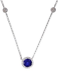 Effy 14Kt White Gold Sapphire And Diamond Station Necklace Blue