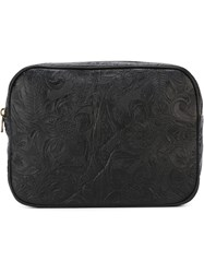 Tomas Maier Floral Embossed Zip Up Clutch Bag Black
