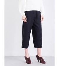 Victoria Beckham Cropped Pinstriped Stretch Wool Trousers Blue Blk
