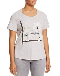 Marina Rinaldi Valdo Embroidered Floral Graphic Tee Light Gray