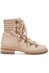Christian Louboutin Mad Spiked Quilted Suede Ankle Boots Neutral