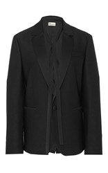 Red Valentino Tuxedo Style Blazer With Self Tie Neck Scarf Black