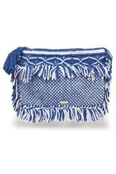 Melissa Odabash Woman Fringed Crocheted Cotton Pouch Cobalt Blue