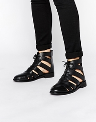 Asos Alfa Cut Out Strappy Leather Lace Up Boots Black