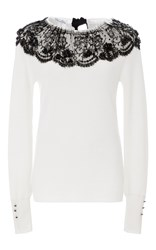 Oscar De La Renta Lace Detailed Sweater White