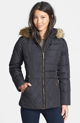 Larry Levine Faux Fur Trim Down And Feather Fill Parka