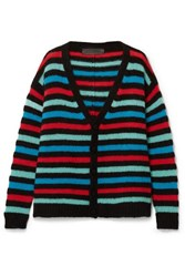 The Elder Statesman Striped Cashmere Cardigan Black