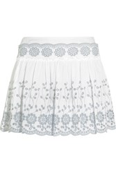See By Chloe Broderie Anglaise Cotton Mini Skirt White