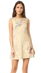 Red Valentino Embroidered Jacquard Dress Gold