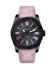 Red8usa Scandal Automatic Crystal Black Pvd And Alligator Embossed Rubber Interchangeable Strap Watch Dus Pink Black
