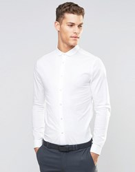 Asos Skinny Shirt In White With Curve Collar And Long Sleeves White