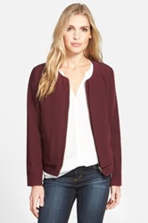 Gibson Collarless Layered Front Jacket Purple