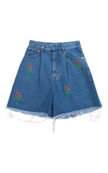 Ksenia Schnaider Floral Embroidered Medium Wash Denim Shorts Blue