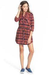 Junior Women's Element 'Recess' Plaid Shirtdress