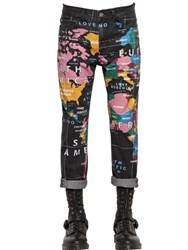 Love Moschino 16.5Cm Slim Map Print Cotton Denim Jeans