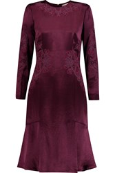Tory Burch Thistle Embroidered Satin Dress Purple