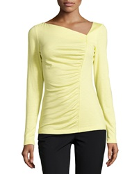Lafayette 148 New York Ruched Front Long Sleeve Jersey Tee Lemonade