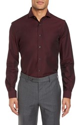 Duchamp 'S Big And Tall Trim Fit Solid Dress Shirt Burgundy