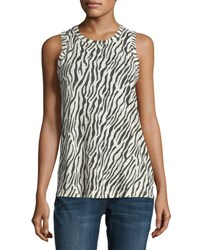 Current Elliott The Muscle Zebra Print Tank Dirty White