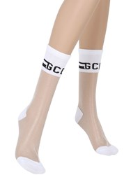 Gcds Sheer Knit Socks With Logo Detail