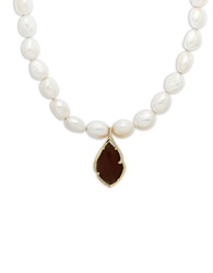 Lord And Taylor Freshwater Pearl Necklace With Smoky Quartz And Diamond Pendant Smokey Quartz Pearl Silver