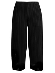 Issey Miyake Flutter Tulle Overlay Pleated Trousers Black