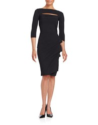 La Petite Robe Di Chiara Boni Kate Ruffled Three Quarter Sleeve Bodycon Dress Black