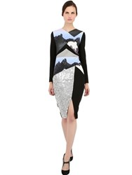 Peter Pilotto Sequin Embroidered Wool Crepe Dress