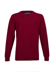 Raging Bull Big And Tall V Neck Cotton Cashmere Jumper Claret