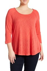 Bobeau Scoop Neck X Back Tee Plus Size Orange