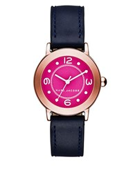 Marc Jacobs Riley Rose Goldtone Stainless Steel And Leather Guilloche Textured Dial Strap Watch Navy Blue