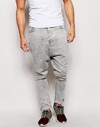 Asos Drop Crotch Jeans In Acid Wash Grey