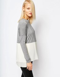 Selected Matilde Knit Top With Silk Bottom Matilde Kni Grey