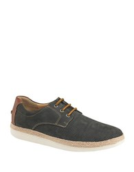 Johnston And Murphy Bowling Nubuck Leather Perforated Sneakers Denim