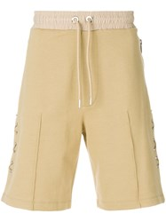 Les Hommes Crossed Leather Laces Shorts Nude And Neutrals