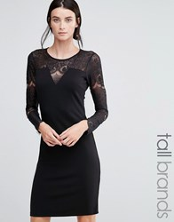 Y.A.S Tall Cary Dress With Lace Top Black