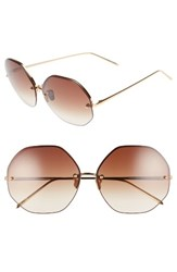 Linda Farrow Women's 63Mm Semi Rimless Round Titanium Sunglasses Yellow Gold Brown Yellow Gold Brown
