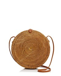 Street Level Circle Straw Crossbody Tan Brass