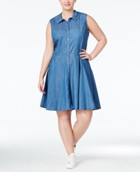 Stoosh Plus Size Denim Fit And Flare Shirt Dress Chambray