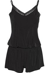 Yummie Tummie By Heather Thomson Hollywood Lace Trimmed Stretch Jersey Playsuit Black