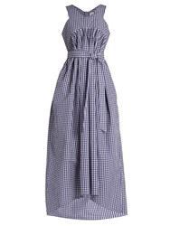 Teija V Neck Sleeveless Gingham Dress Blue White