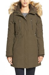 Women's Vince Camuto Faux Fur Trim Down And Feather Fill Parka Dark Olive