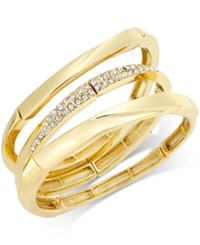 Alfani Set Of Three Gold Tone Pave Bangle Bracelets Only At Macy's