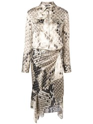 Roberto Cavalli Asymmetric Mid Length Dress Neutrals