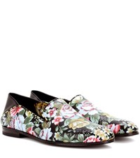 Alexander Mcqueen Floral Printed Leather Loafers Multicoloured