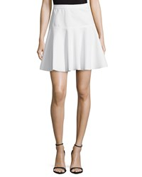 Halston Heritage Fit And Flare Ponte Skirt Linen White