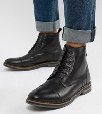 Base London Wide Fit Hockney Lace Up Boots In Black