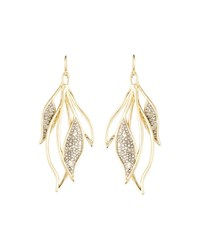 Alexis Bittar Crystal Encrusted Feather Wire Earrings Gold