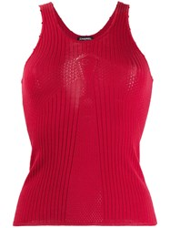 Chanel Vintage 2004'S Knitted Tank Top Red