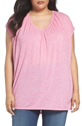 Sejour Plus Size Women's Shirred V Neck Knit Tunic Pink Raspberry